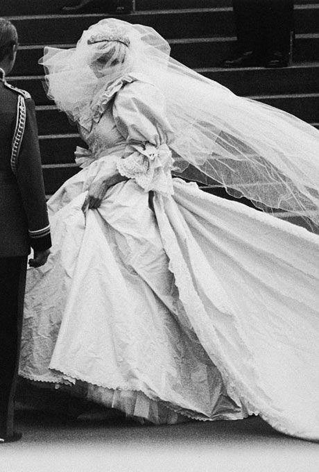 Diana Spencer marries Prince Charles in David and Elizabeth Emanuel, 1981