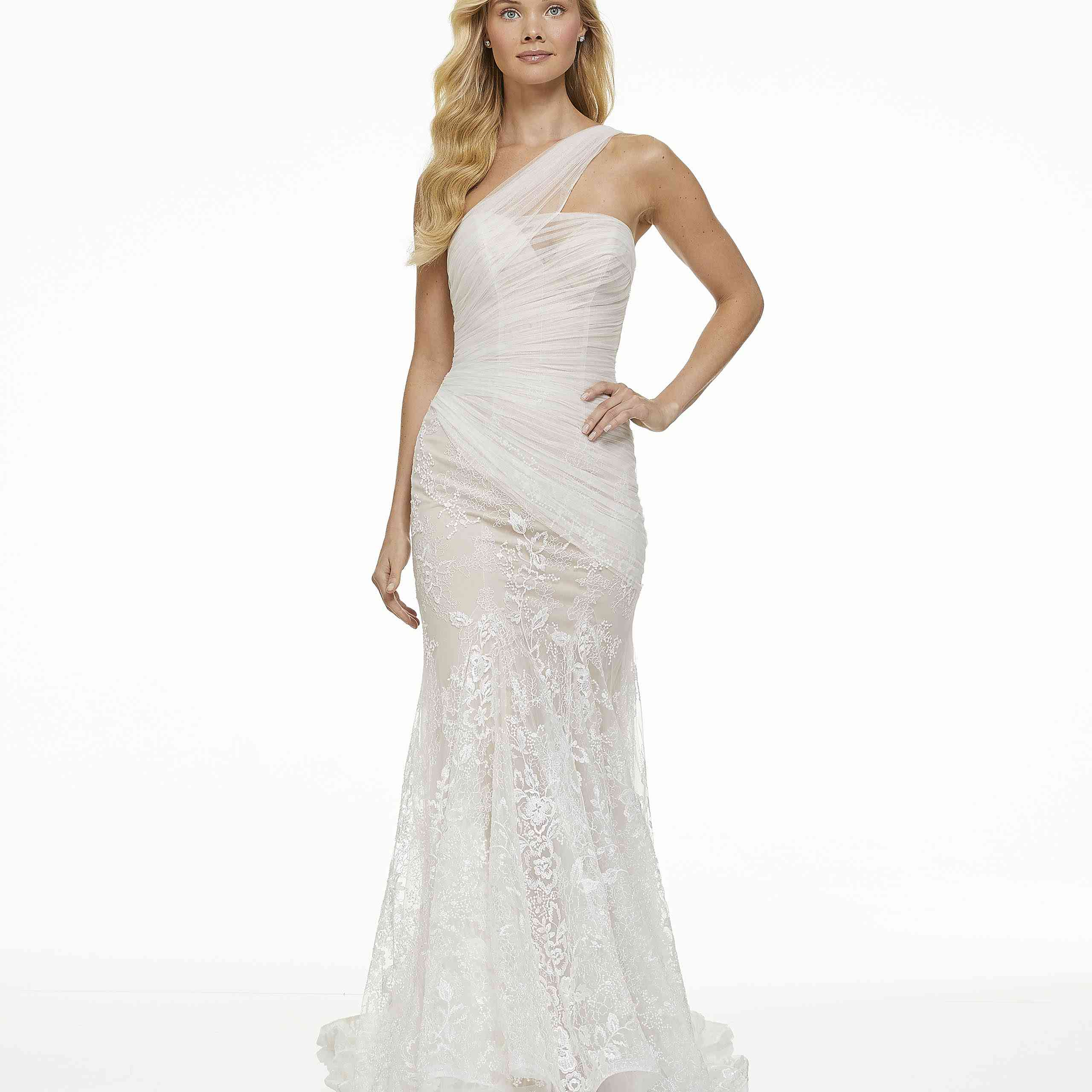 Model in one-shoulder fit-and-flare wedding dress