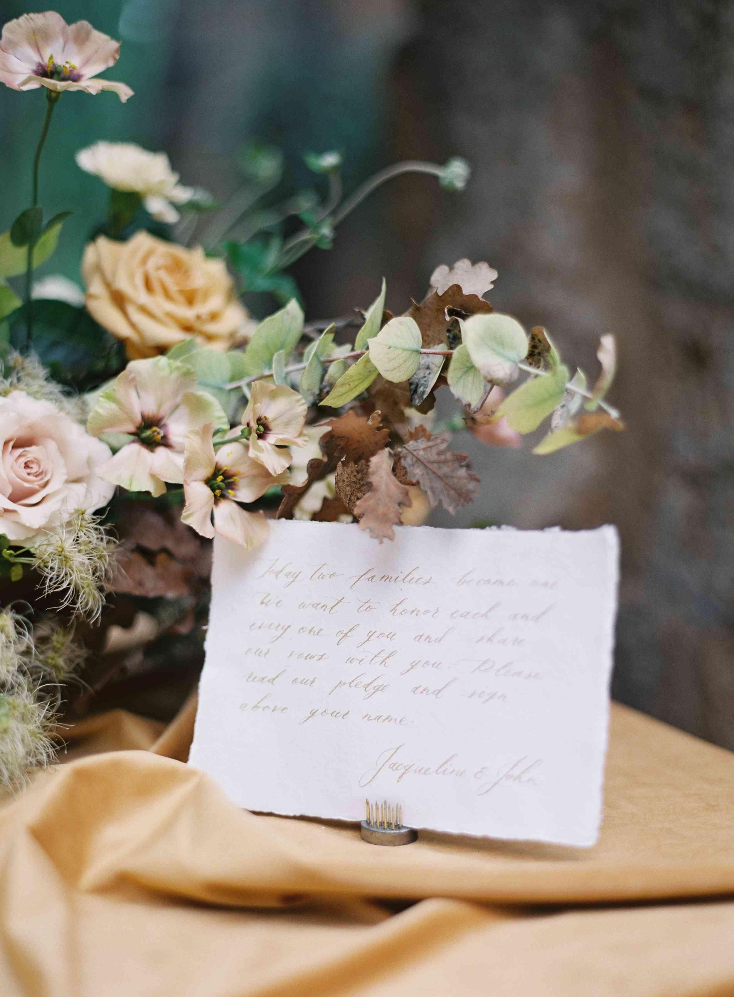 classic la badia italian wedding, calligraphy bible verse