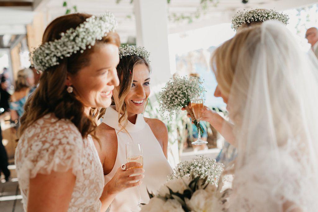 bridesmaids baby's breath flower crowns