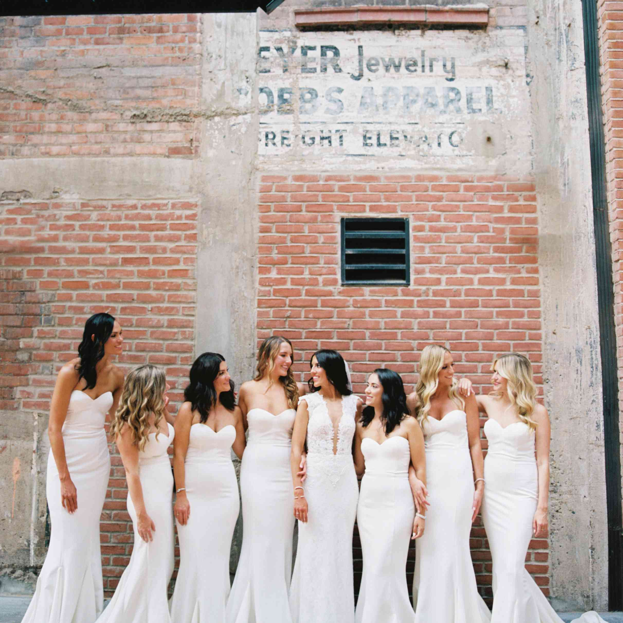 Portrait of the bride with her bridesmaids