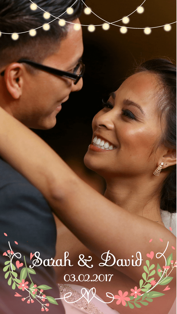 A photo of bride and groom dancing with a wedding Snapchat geofilter overlay
