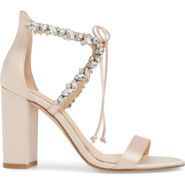Light champagne block heeled sandals with crystal embellished straps and string bow