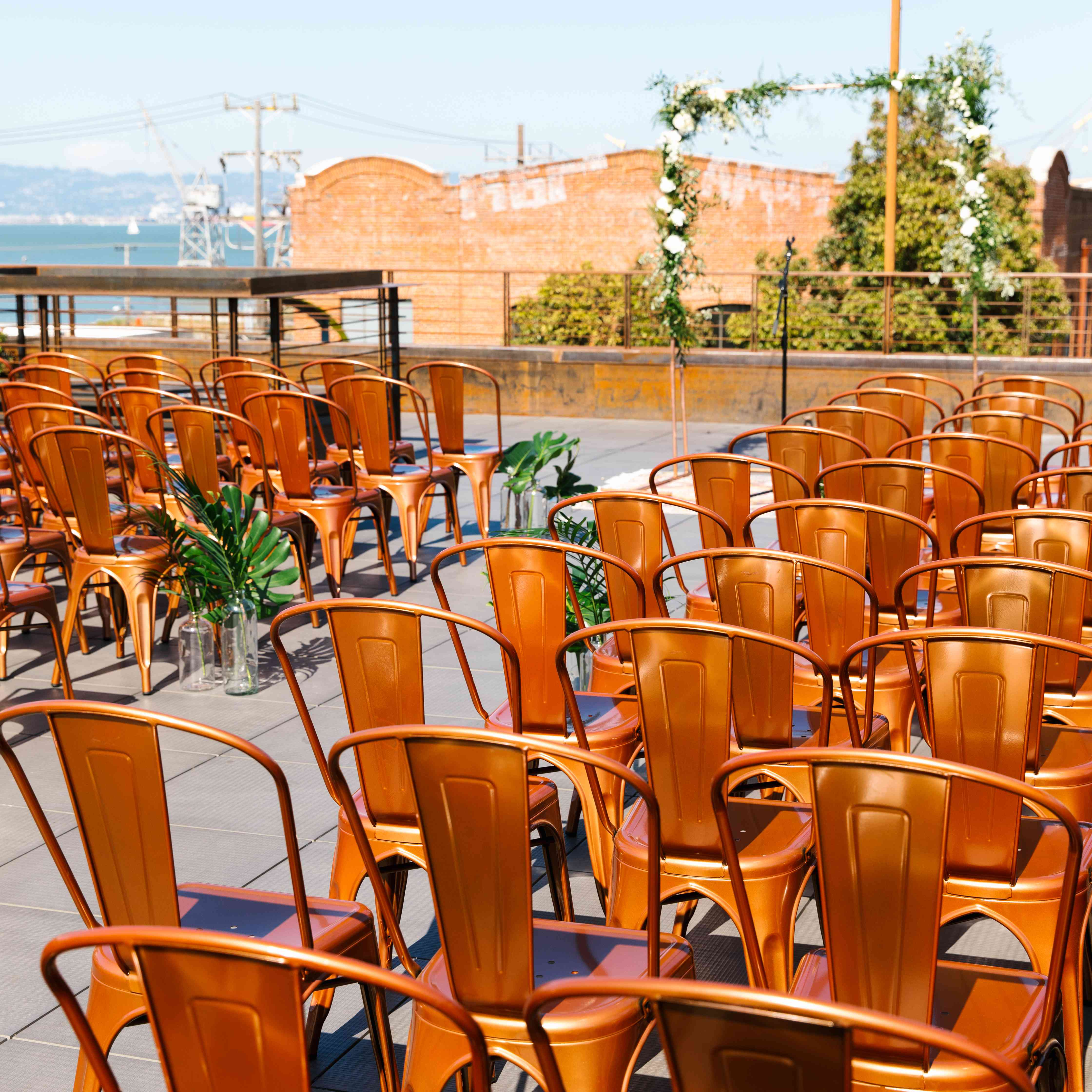 Back of copper ceremony chairs