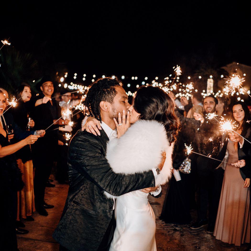 Nazanin Mandi kissing husband