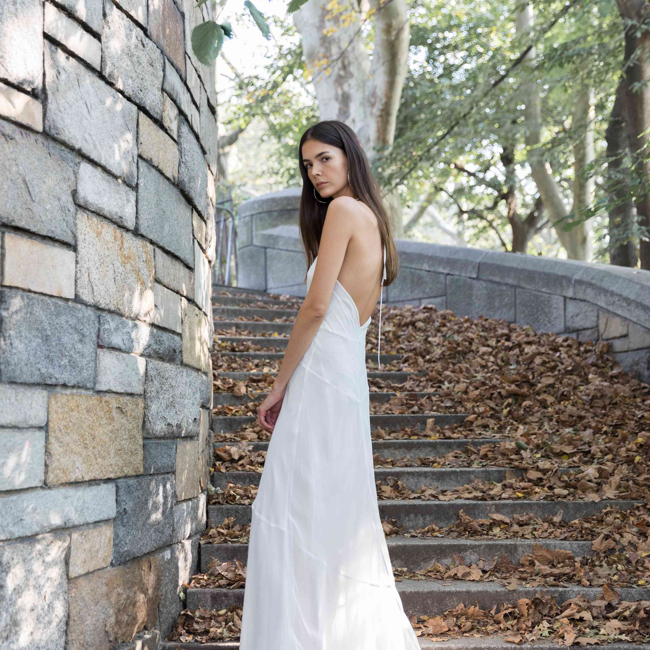 Model in halter chiffon wedding dress