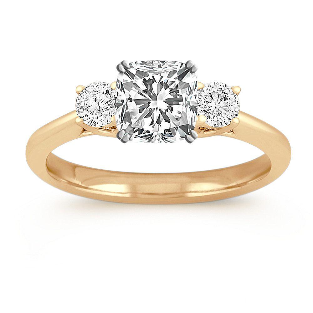 Shane Co. Three-Stone Round Diamond Engagement Ring in Yellow Gold