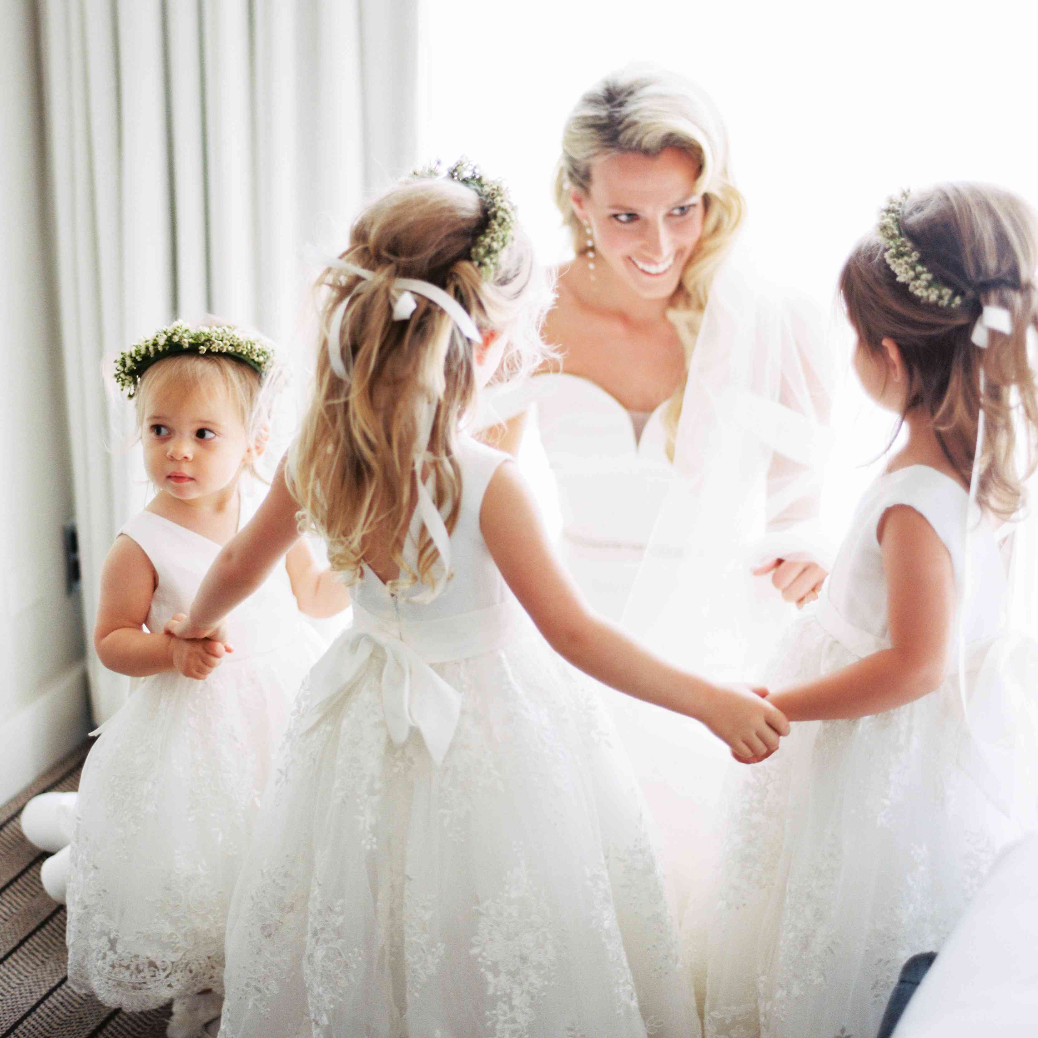 <p>Bride with flower girls</p><br><br>