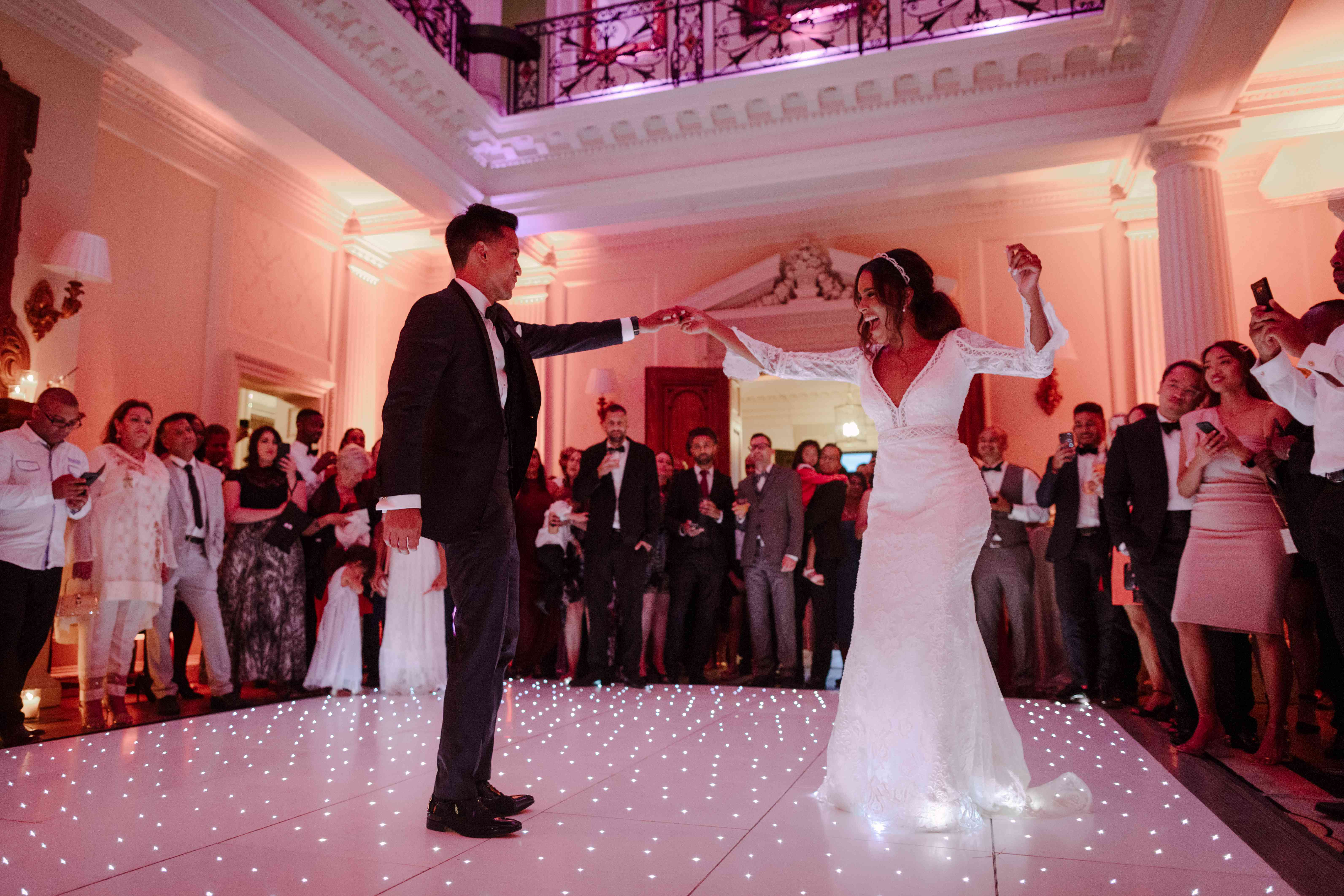 The bride and groom first dance