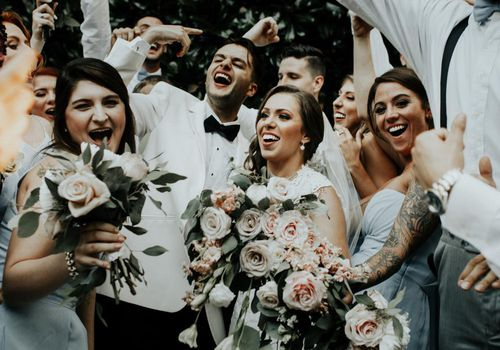 Wedding party with tattoos