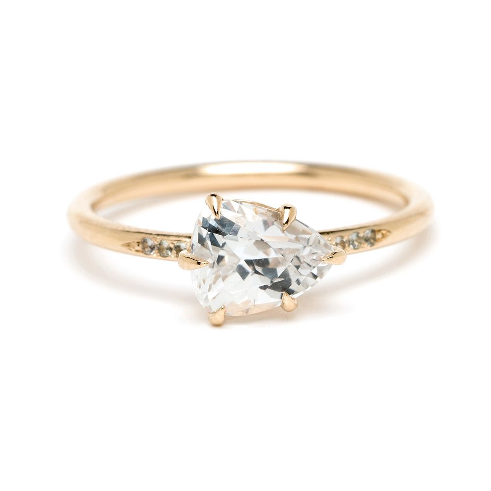 Sofia Kaman Simple Solitaire Pear Shape White Sapphire Ring