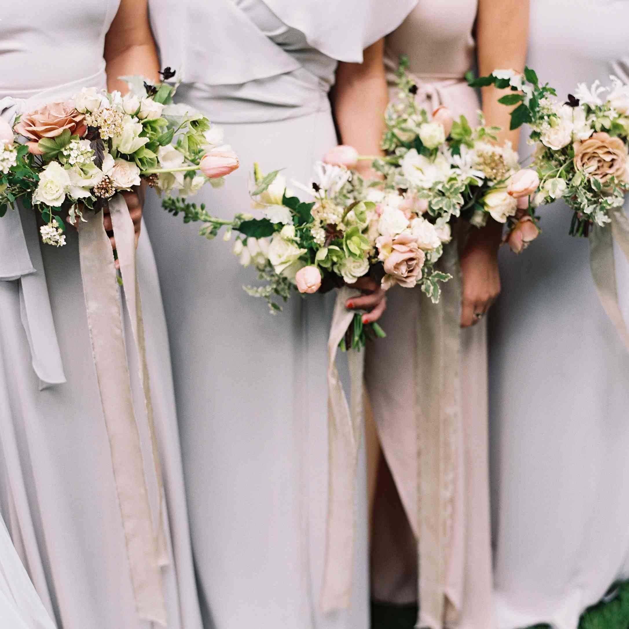 Bride with bridesmaids bouquets