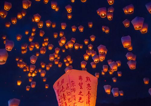 Sky lanterns carry wishes to heaven.