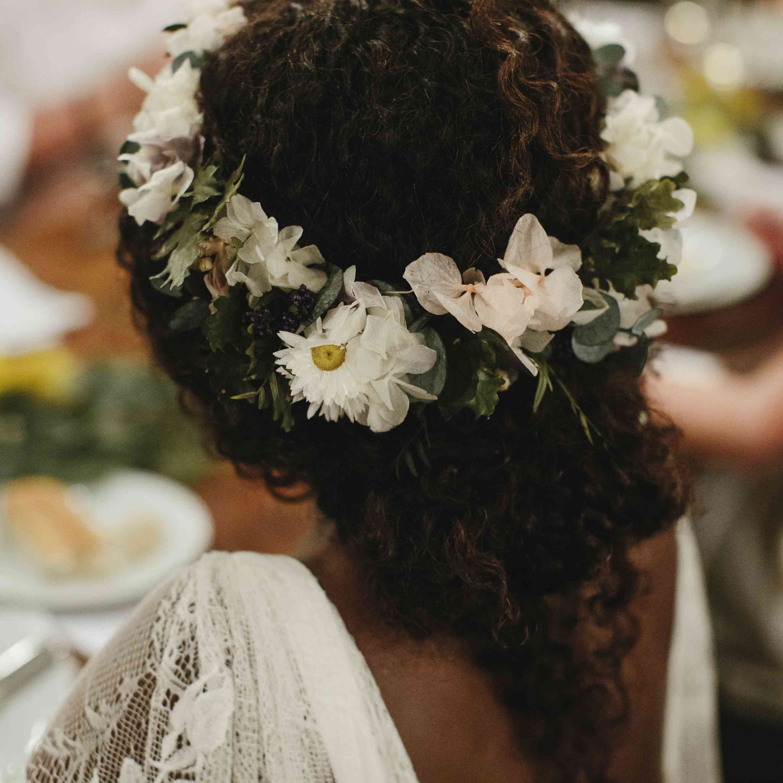 Bridal hair with flower crown