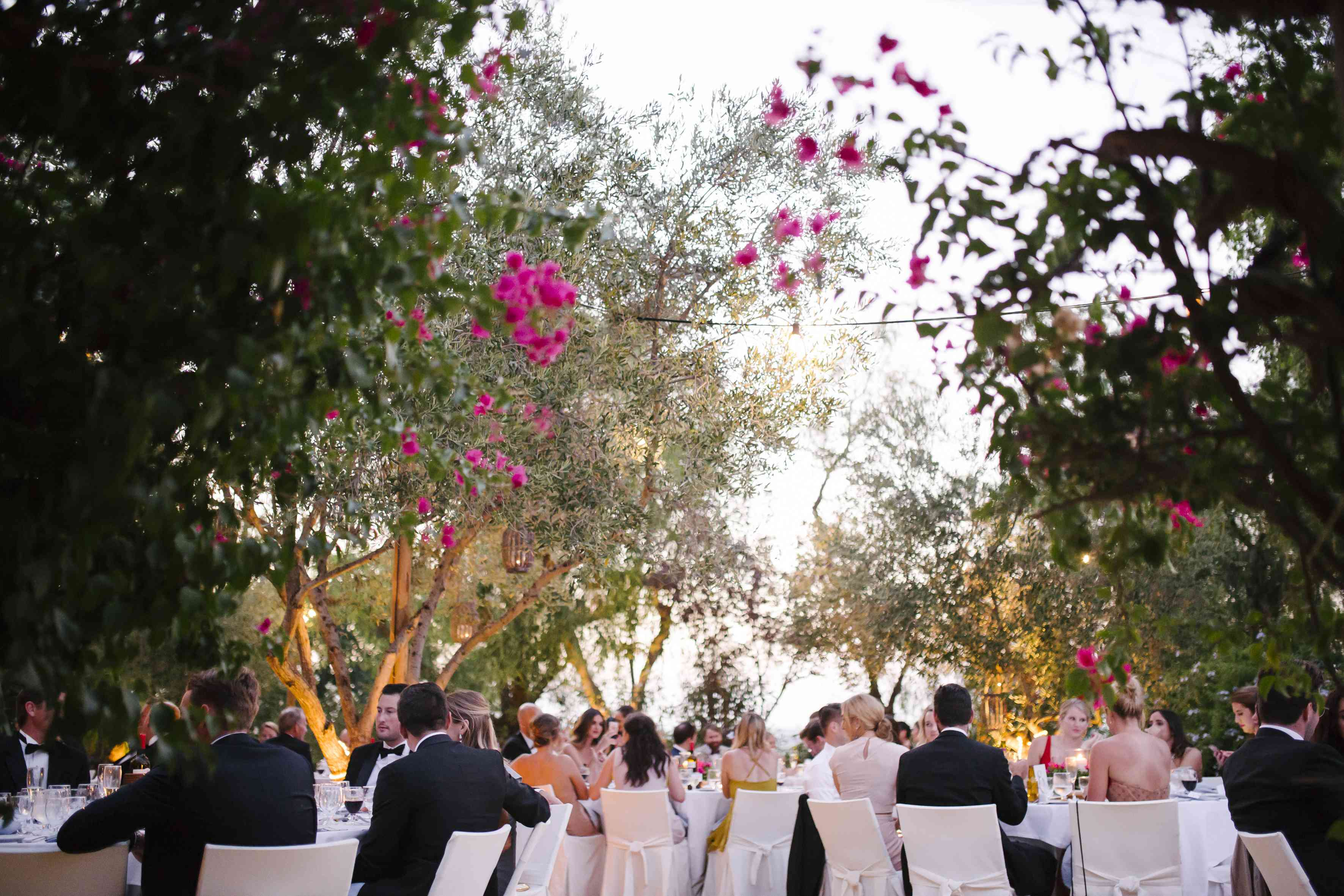 Guests throwing flowers