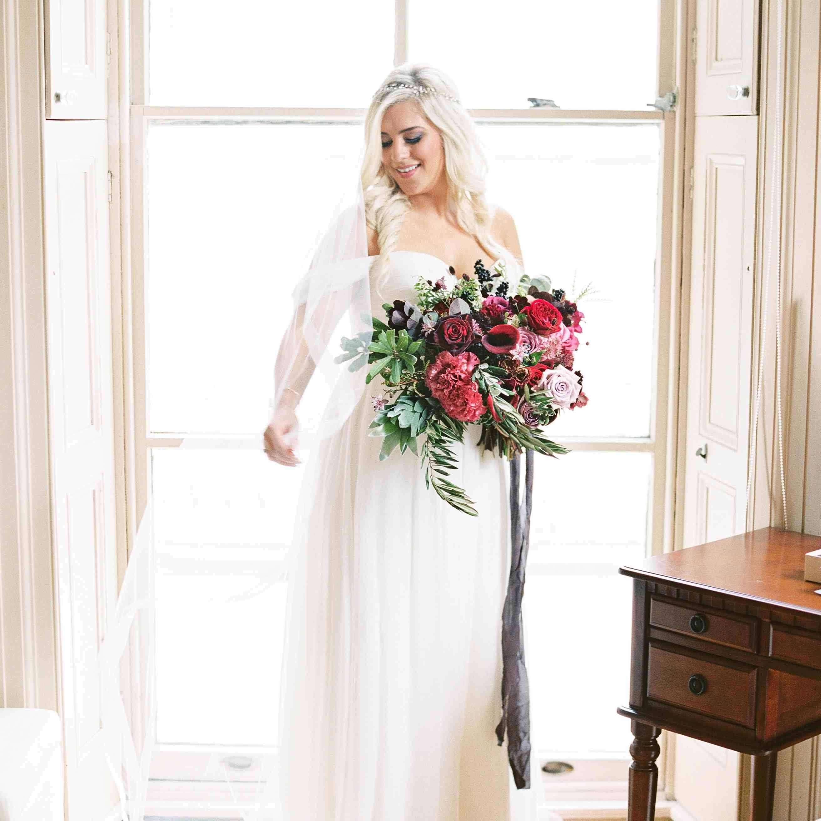 Bride with Purple and Red Bouquet