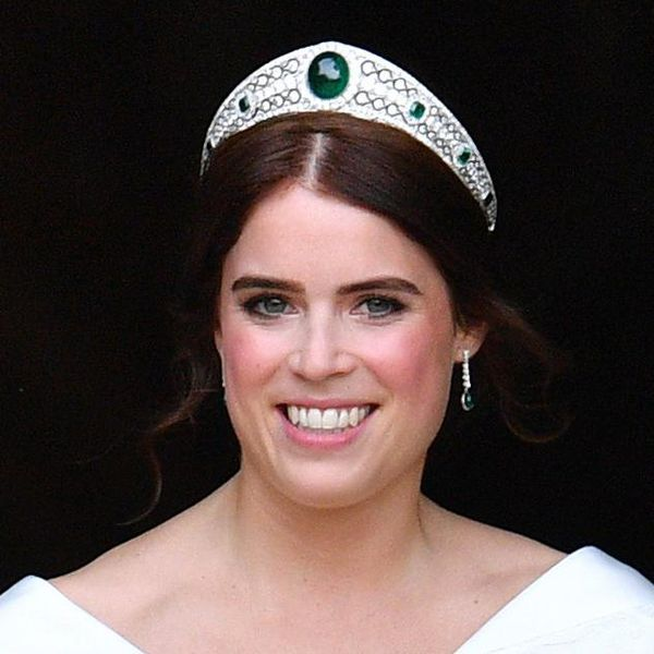 Princess Eugenie leaves St George's Chapel following her wedding ceremony on October 12, 2018 in Windsor, England.