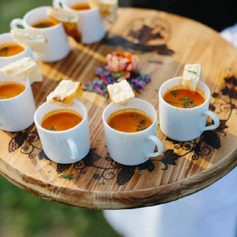Mini tomato soup with grilled cheese