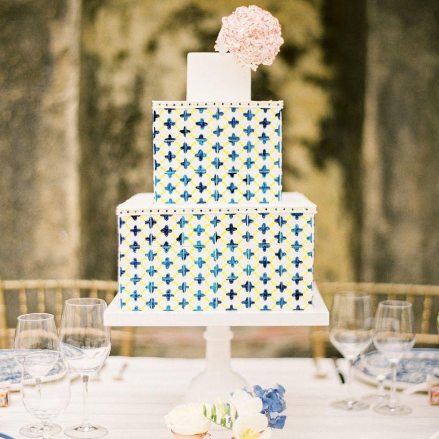 mosaic square wedding cake
