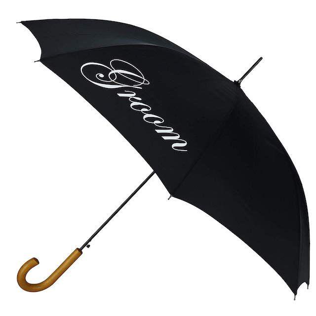 ShedRain Men's Script Groom Wedding Umbrella with Hook Handle, Black