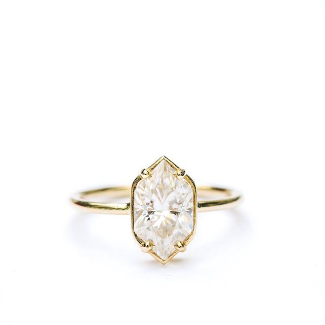 Josephine Elongated Hexagon Moissanite Engagement Ring