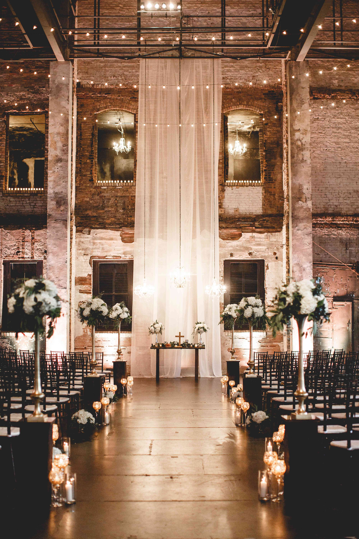 Industrial chic wedding ceremony