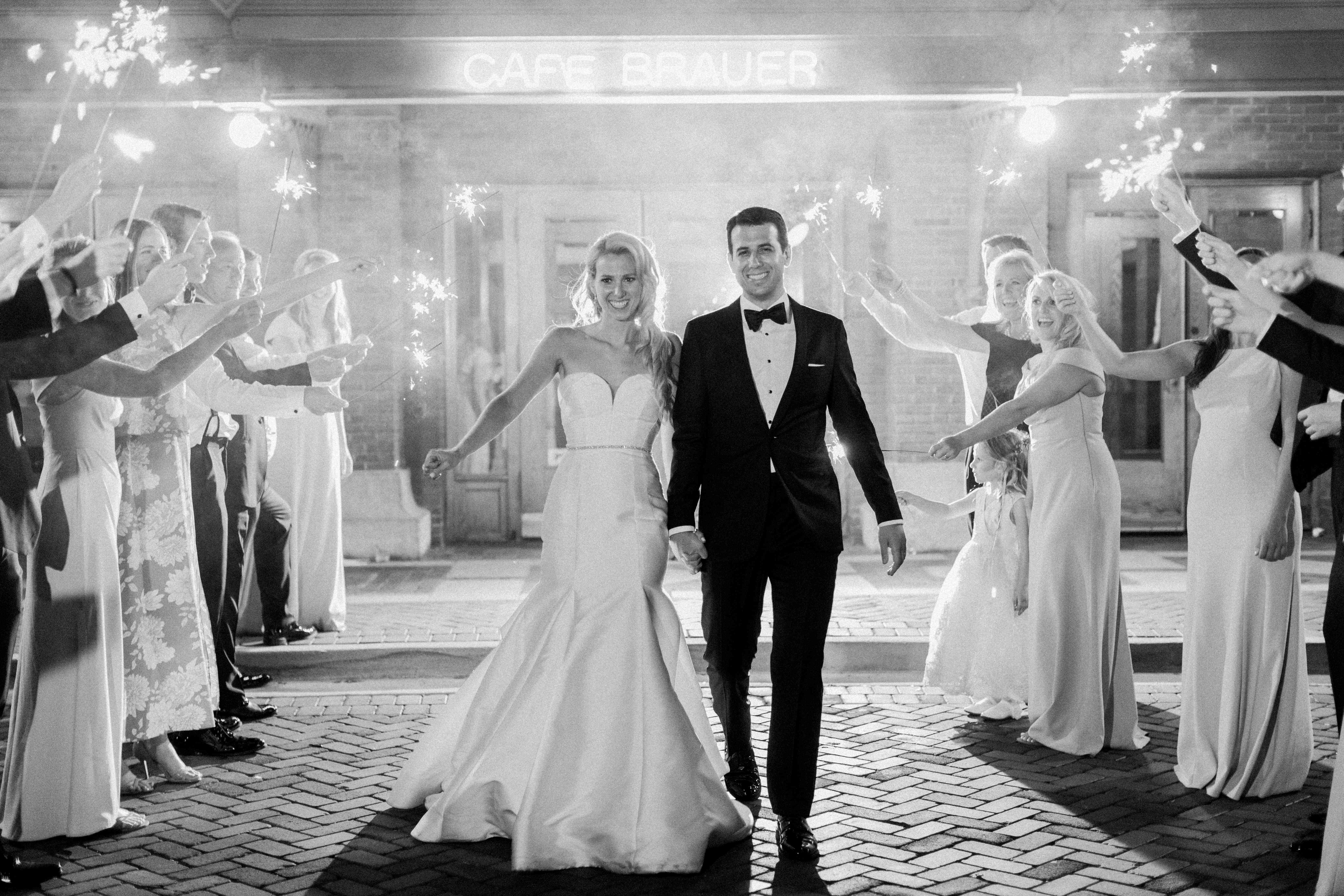 <p>Bride and groom with sparklers</p><br><br>