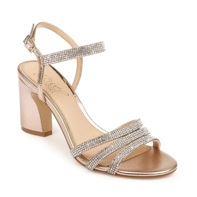 Block heeled rose gold strappy sandals embellished with crystals