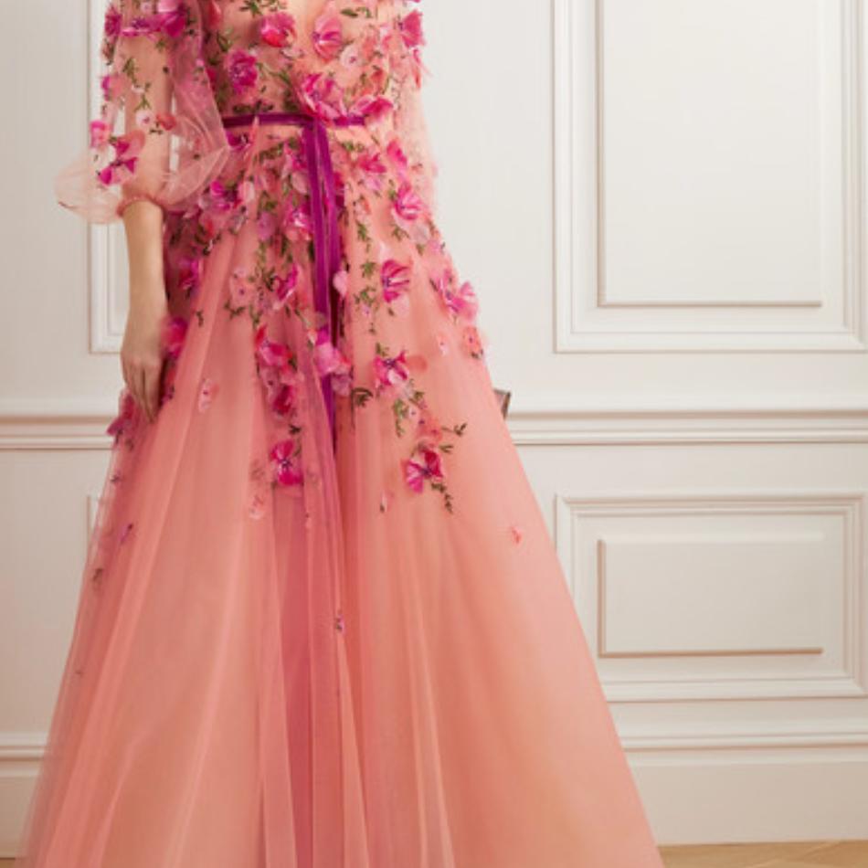 Marchesa Velvet-Trimmed Embellished Embroidered Ombré Tulle Gown