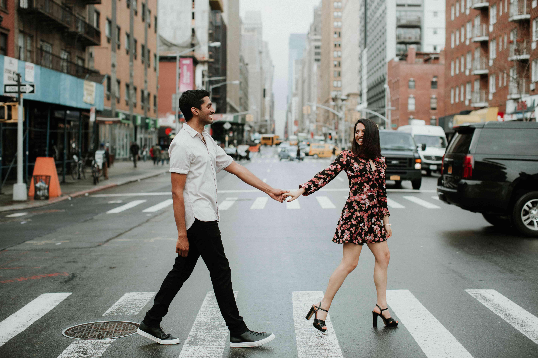 Couple walking on crosswalk