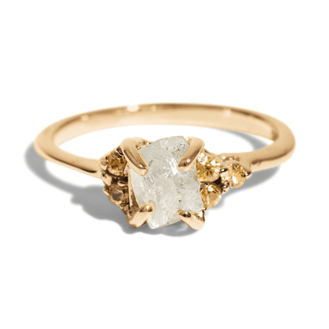 cluster ring with yellow sapphire