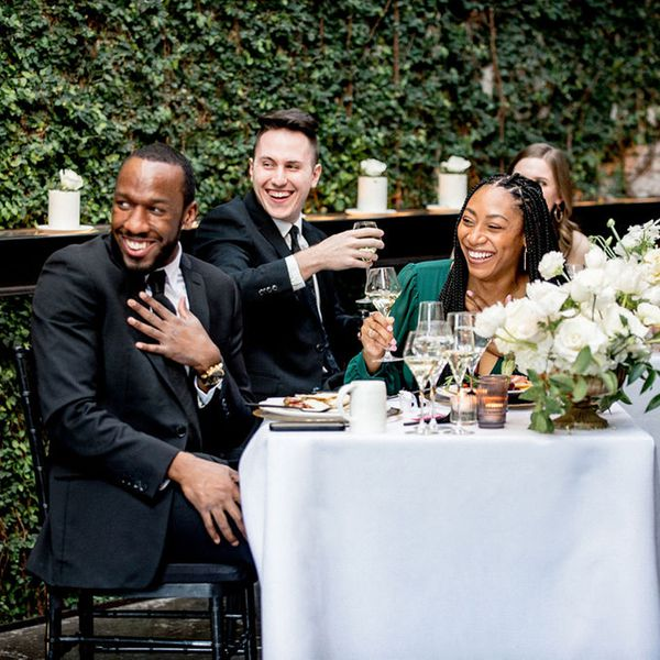 wedding guests laughing at funny toast