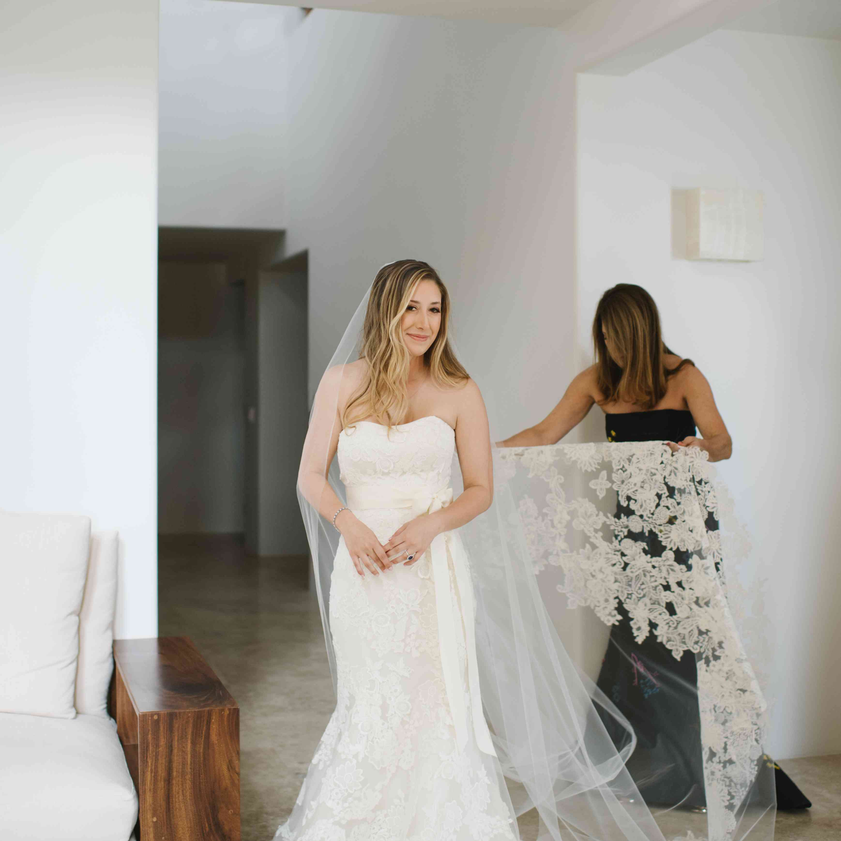 The bride in her wedding gown