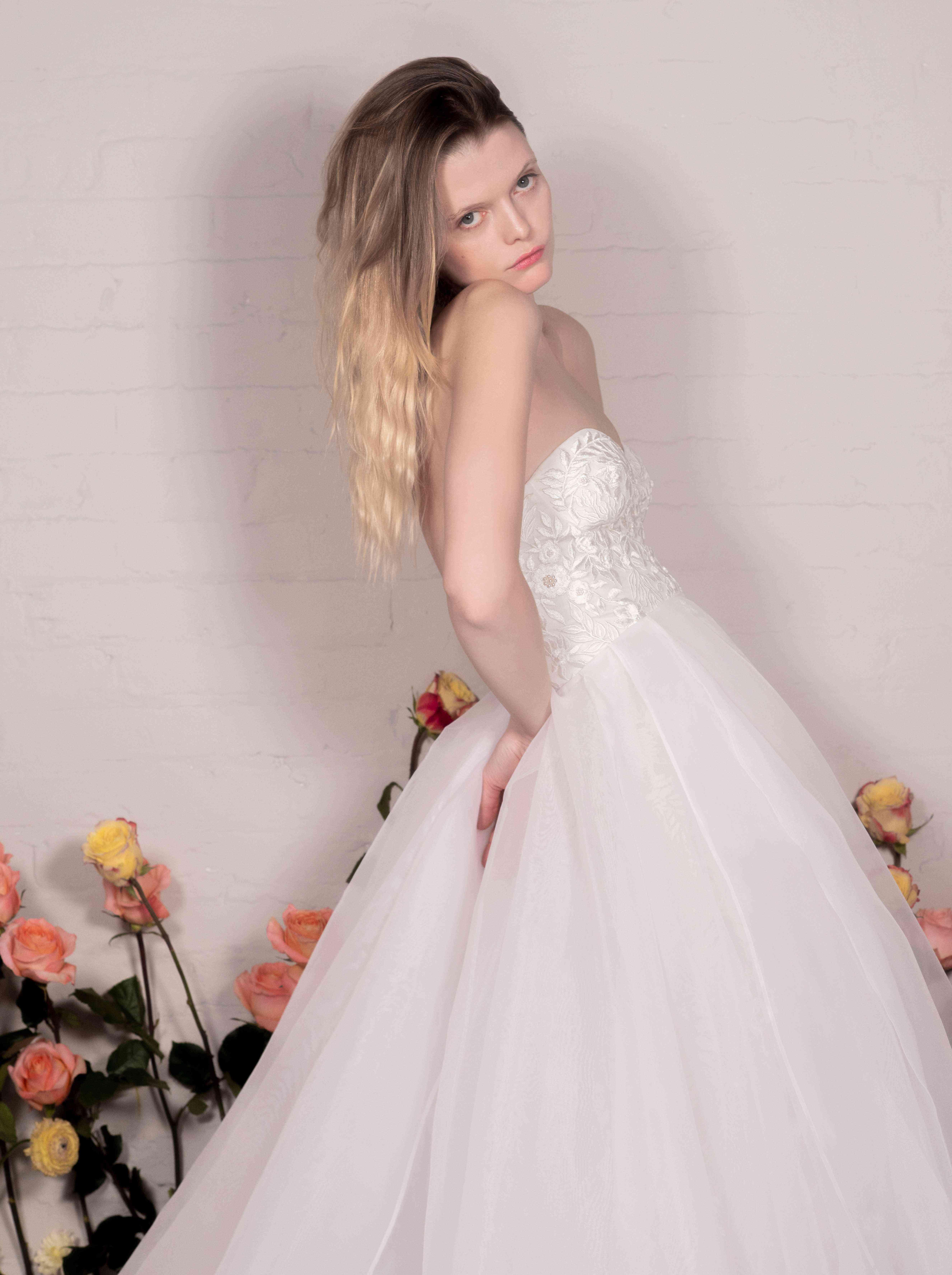 Wisteria bustier wedding dress and Organza Overskirt