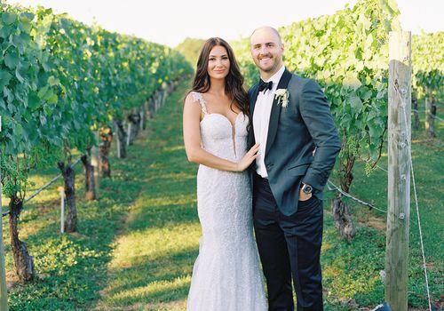 bride and groom vineyard