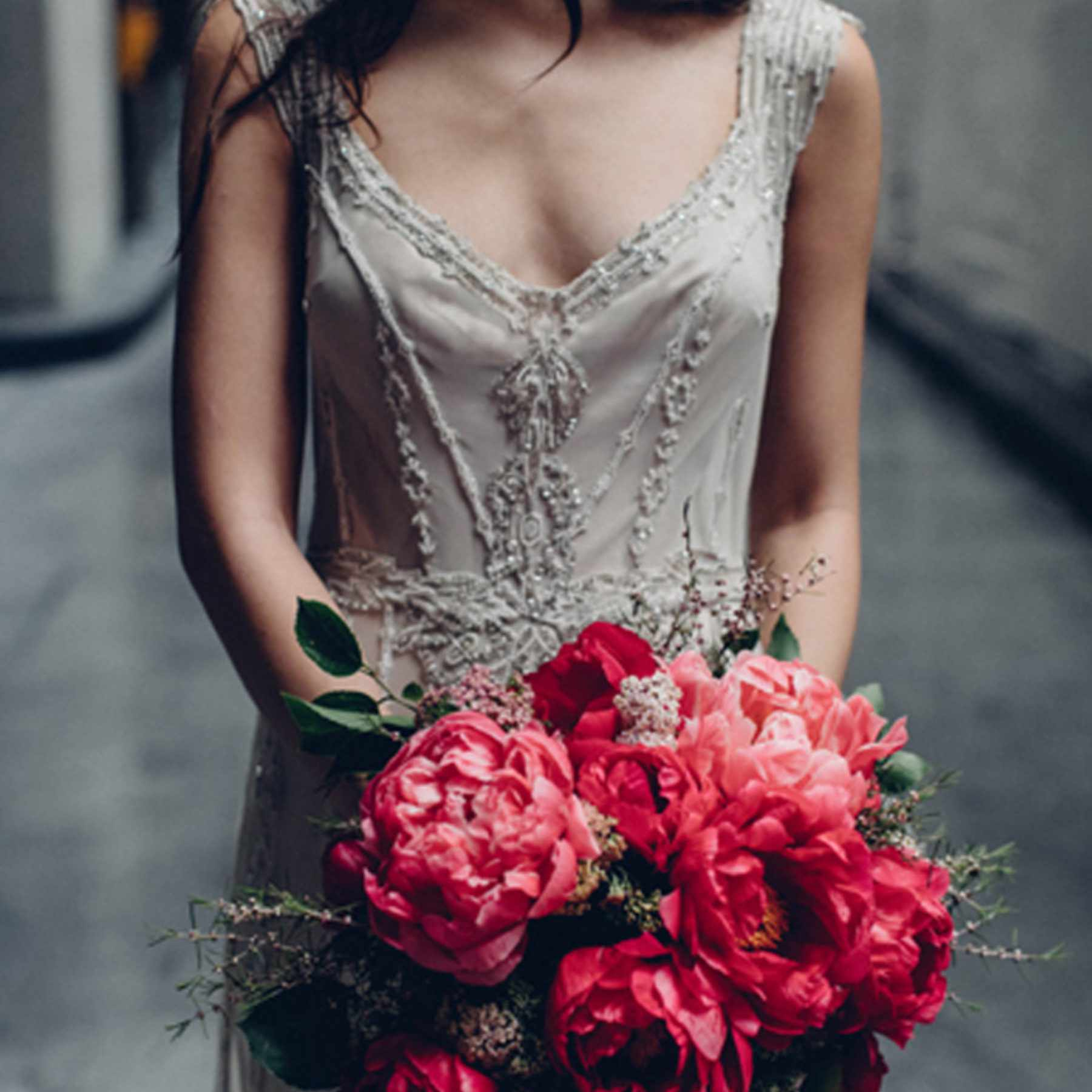 Monochrome Peony bouquet
