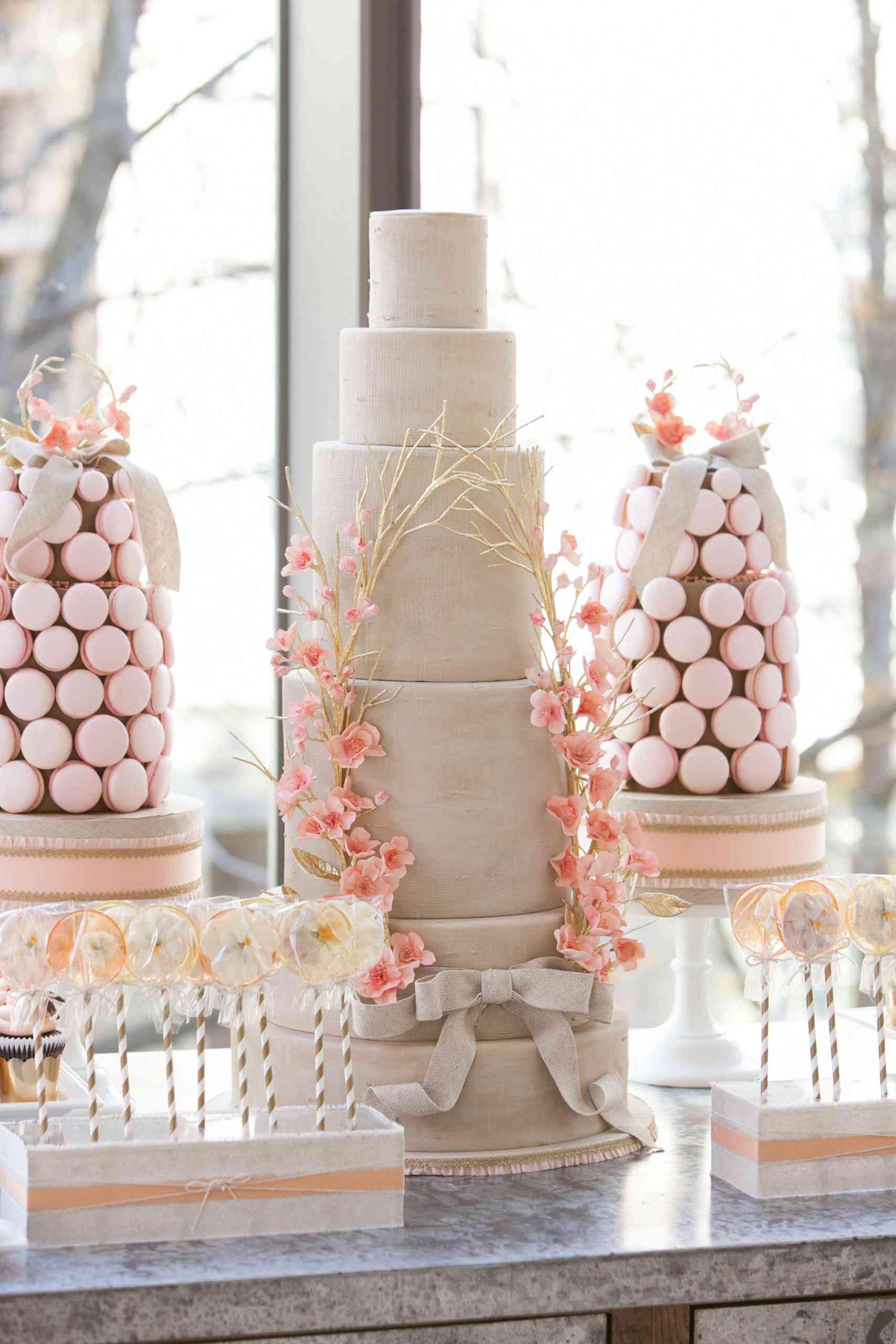 neutral cherry blossom cake
