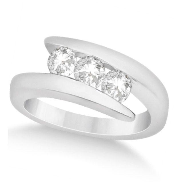 Allurez Three Stone Diamond Journey Ring Tension Set