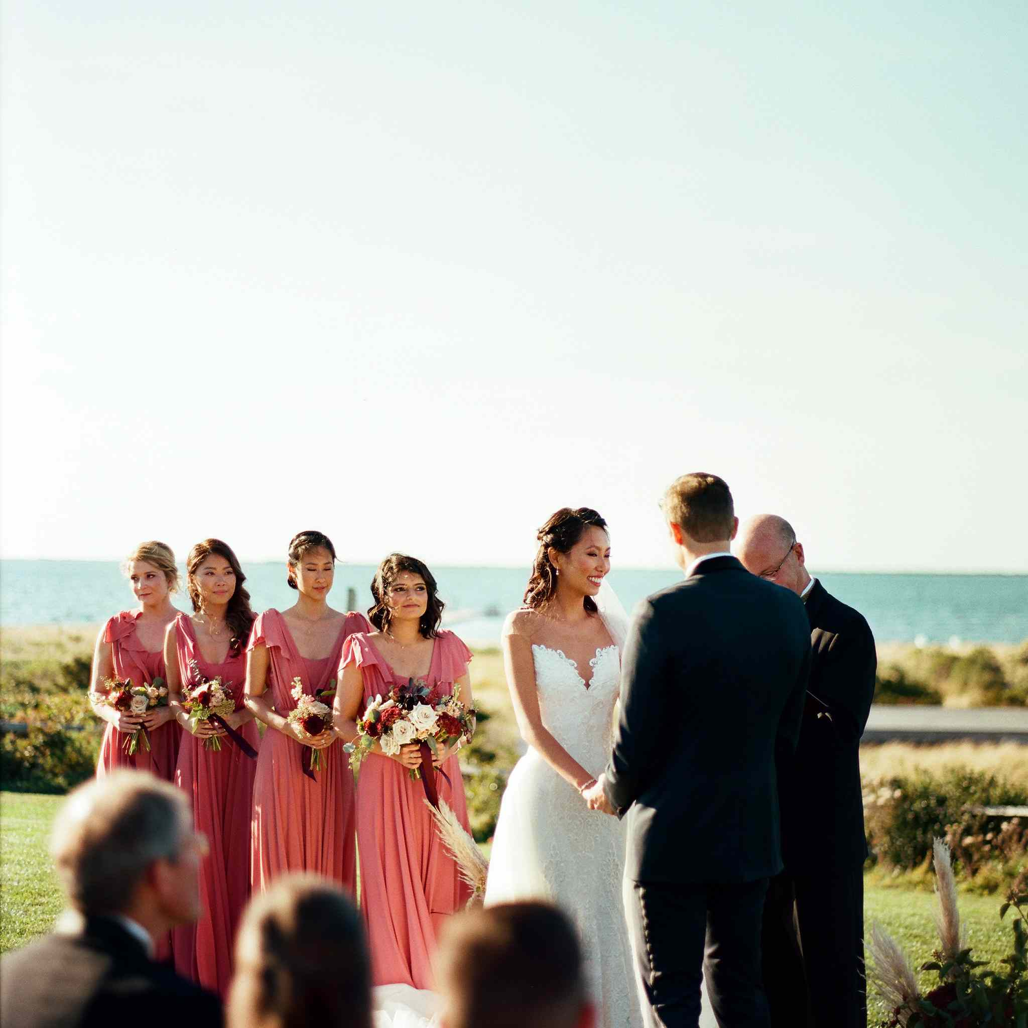<p>ceremony wedding party couple at altar</p><br><br>