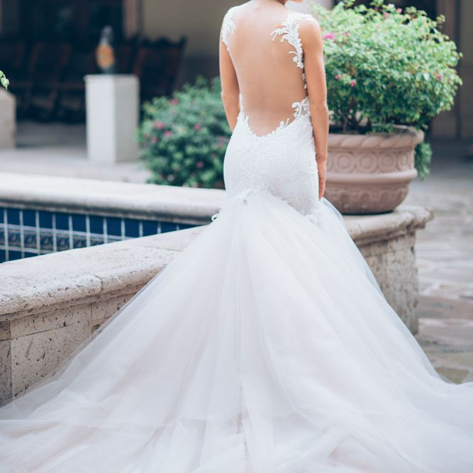 Bride solo with backless dress