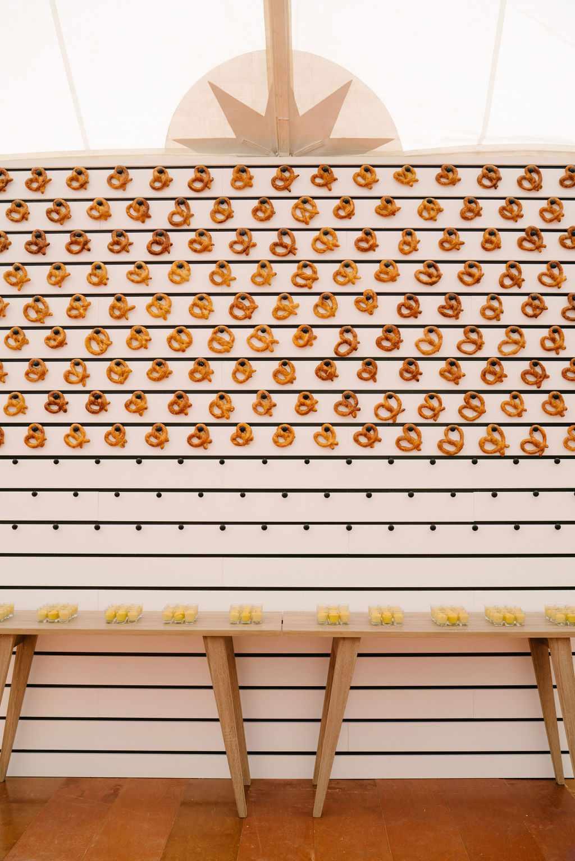augusta wedding, pretzel food display