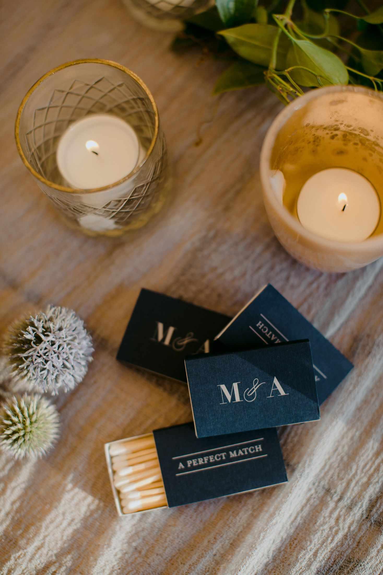 Custom match boxes as wedding favors