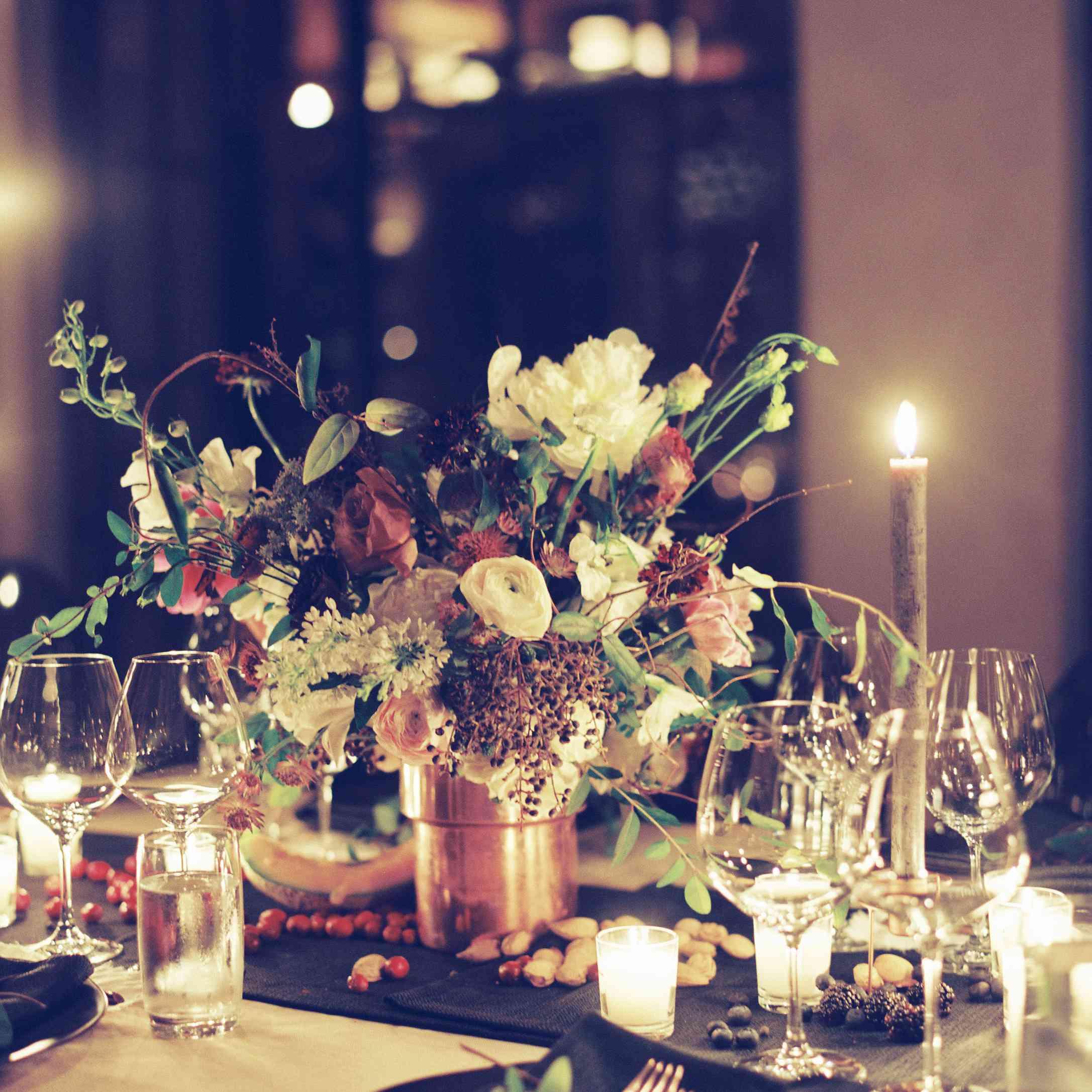 floral centerpiece copper vase