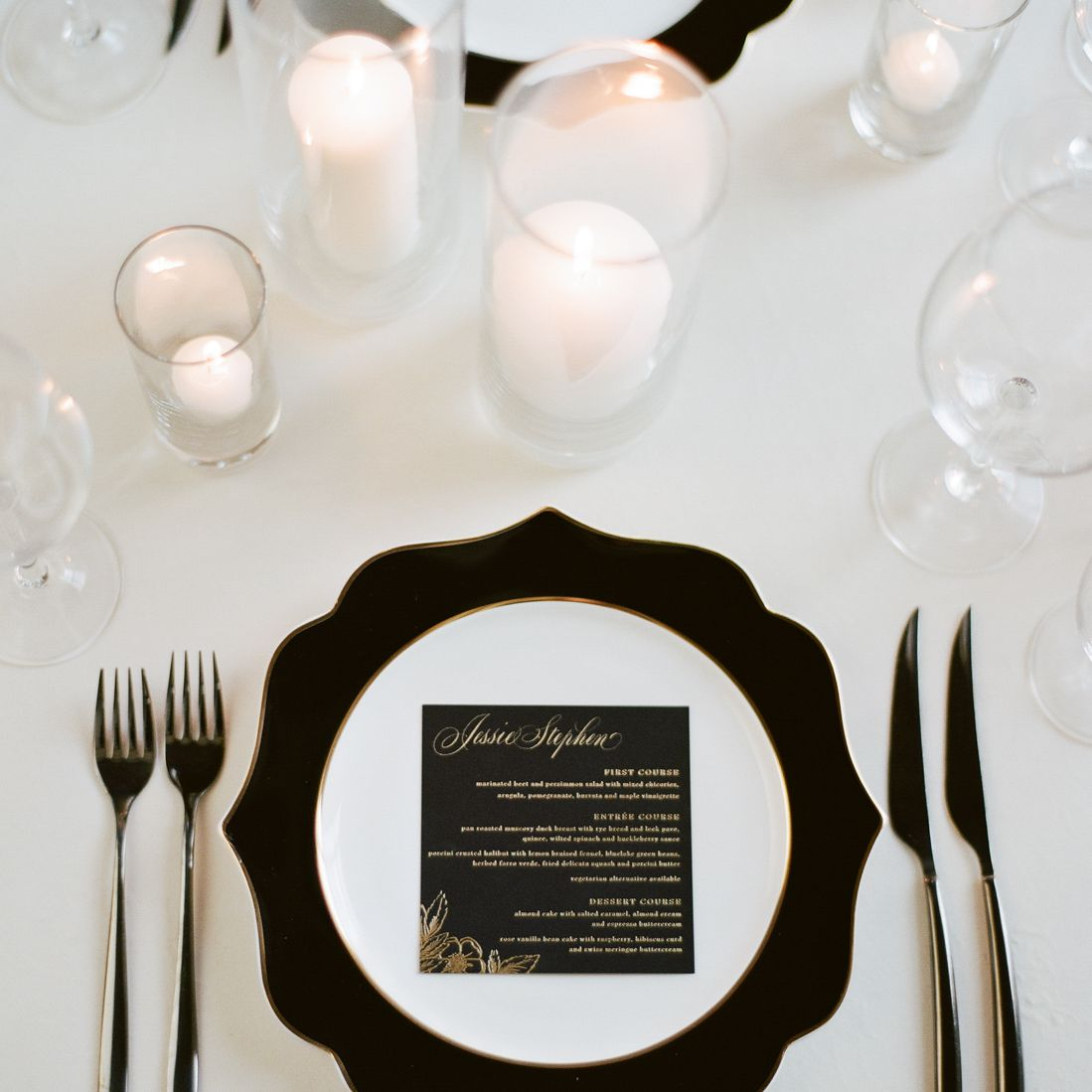 black and white place setting candle centerpieces
