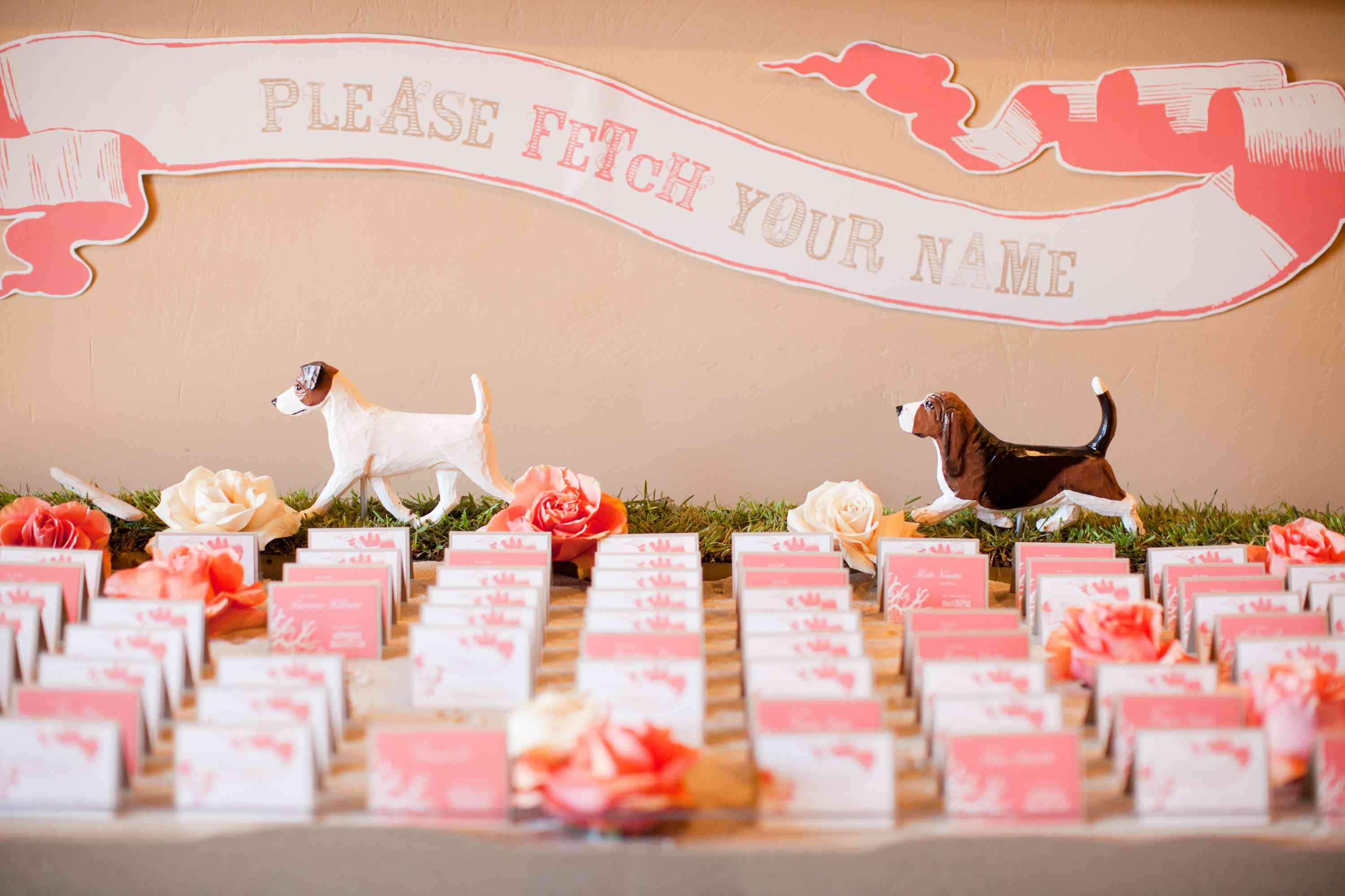Escort card display with dogs