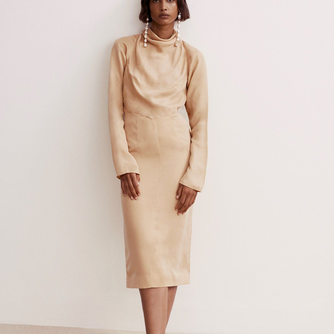 Tove Ines Cowl Buttermilk Cupro Dress $633