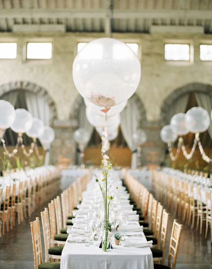 Floating balloon used as reception centerpiece