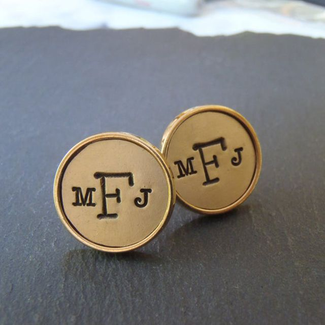 Golden Bronze Monogram Cufflinks