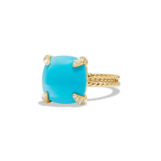 David Yurman Châtelaine 18k Gold 14mm Turquoise Ring w/ Diamonds