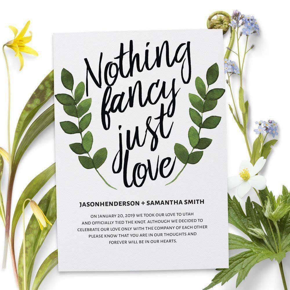 Amazon Nothing Fancy Just Love, Elopement Announcement